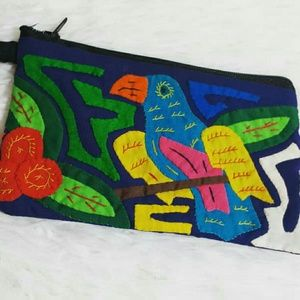 Vintage Cloth Handcrafted Parrot Patched Pouch